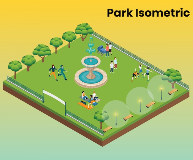 Isometric artwork concept of park for entertainment