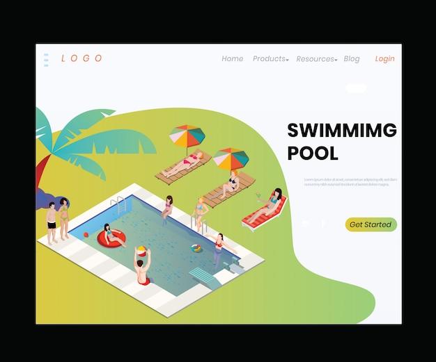 Isometric artwork concept of swimming pool