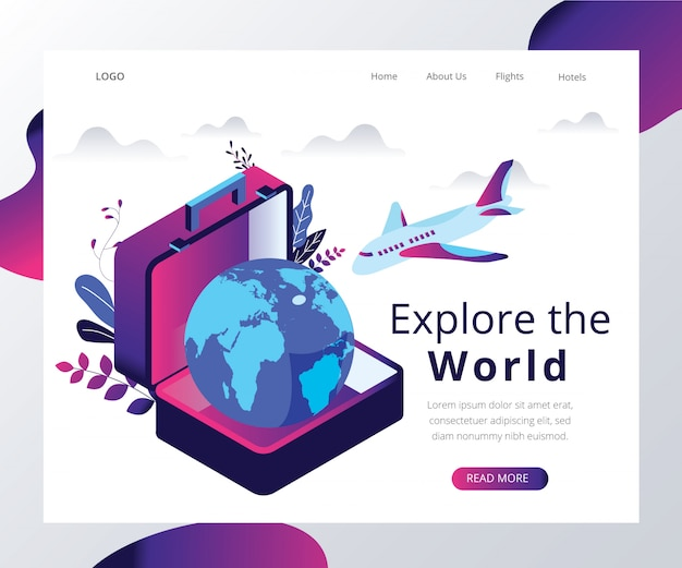 Isometric artwork concept of travel the world