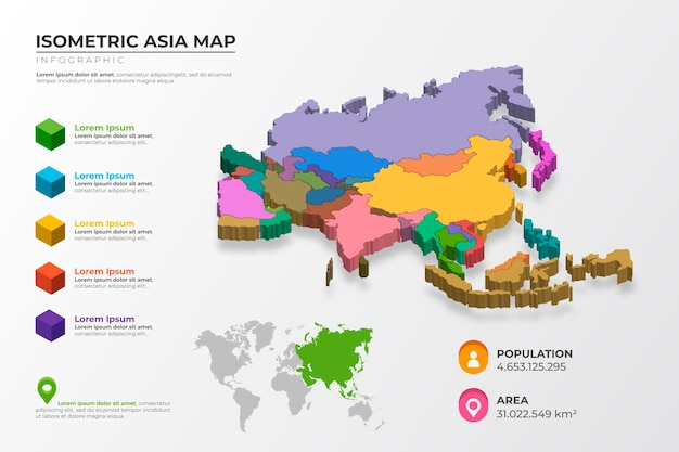 Изометрические карта азии инфографики