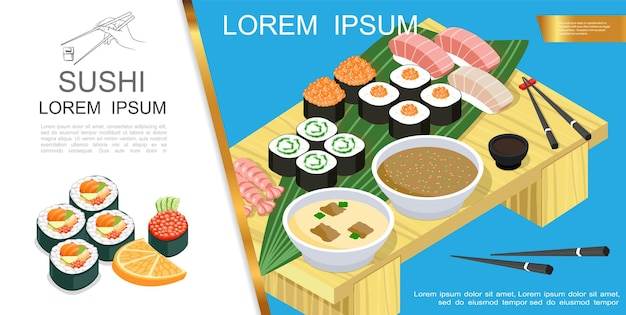 Isometric asian food composition with sushi and sashimi different ingredients seaweed soy sauce wasabi soup chopsticks on table  illustration