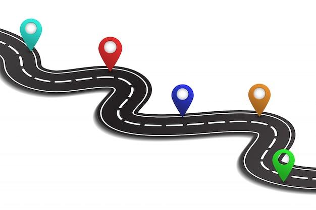 白い背景の上の等尺性アスファルト道路。物流、旅、配送、輸送の概念。