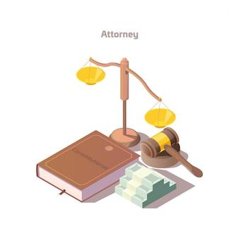Изометрический набор элементов адвоката