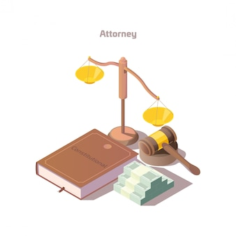 Isometric attorney element set Free Vector