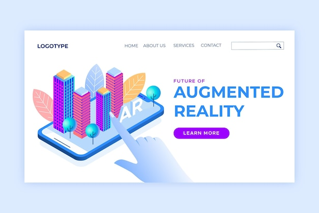 Isometric augmented reality concept landing page template