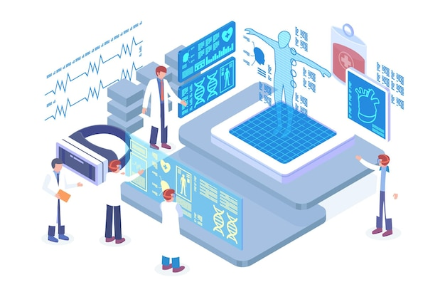Isometric augmented reality diagnosis vector concept