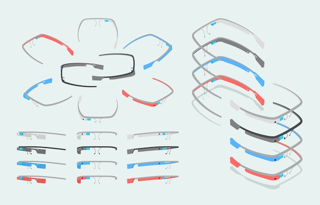 Isometric augmented reality glasses of different colors