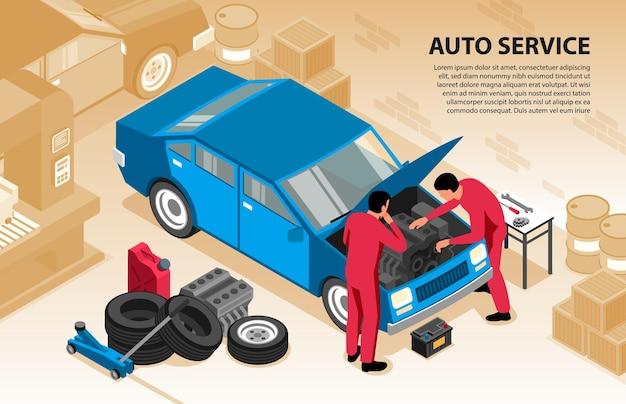 2人の労働者が車を修理しているテキストと屋内ガレージ構成の等尺性自動車修理水平背景