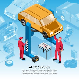 Isometric auto repair square background with editable text and composition of car images and human characters