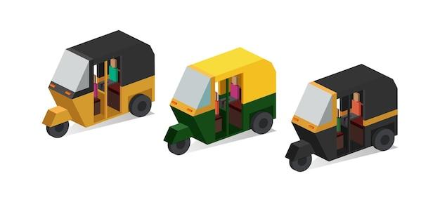 Изометрические авто рикша векторные иллюстрации