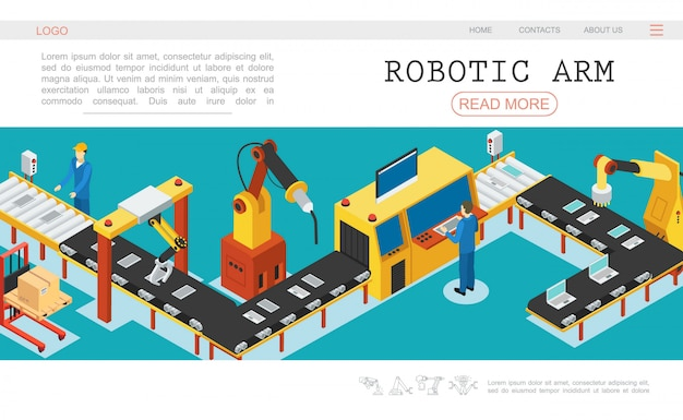 Isometric automated factory web page template with industrial assembly conveyor belt mechanical robotic arms and operators monitoring working process