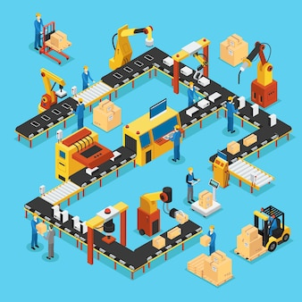 Isometric automated production line concept Premium Vector