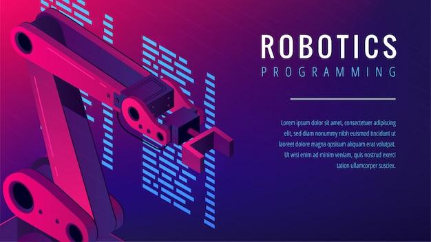 Isometric automated robot arm as robotics programming concept.