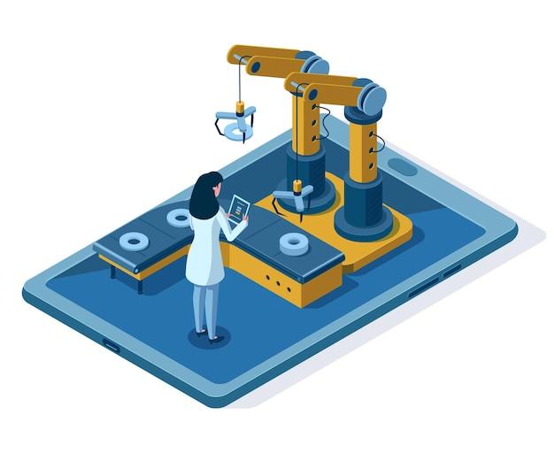 아이소메트릭 자동화 로봇 팔 엔지니어링 관리. 자동화된 로봇 조립 라인, 엔지니어 제어 기계 시스템 벡터 일러스트레이션. 산업용 로봇 컨베이어. 여성 통제 과정