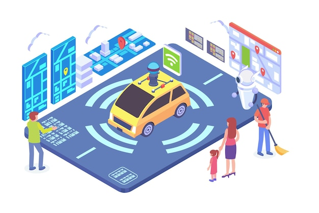 Isometric autonomous vehicle technology vector