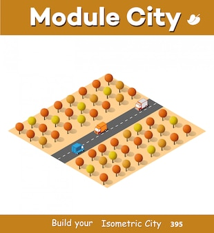 Isometric autumnal city