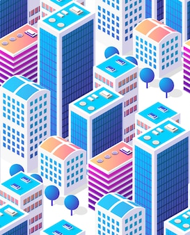 Isometric background seamless city downtown skyscrapers