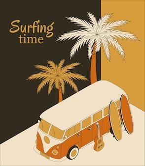 레트로 버스, 두 개의 서핑 보드, 기타 및 야자수와 아이소 메트릭 배경. 서핑 시간 배너.
