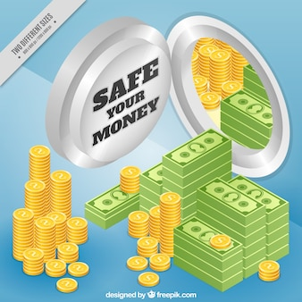 Sfondo isometrica con cassetta di sicurezza e denaro