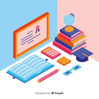 Isometric background with school accessories