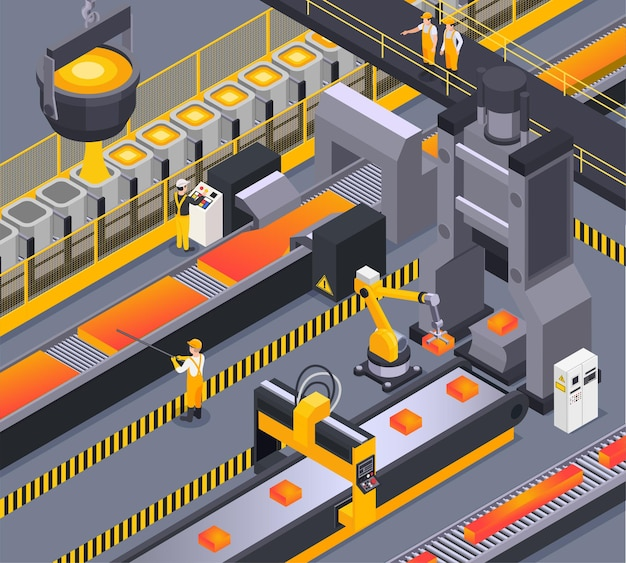 Isometric background with steel foundry workers and metalworking process 3d