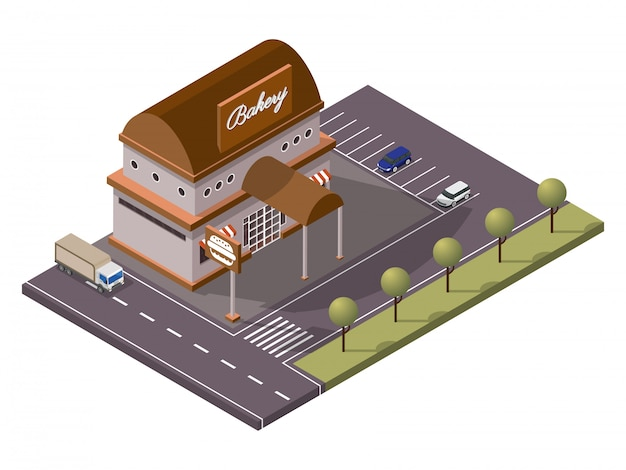 Isometric bakery burger shop and car parking along transport street yard