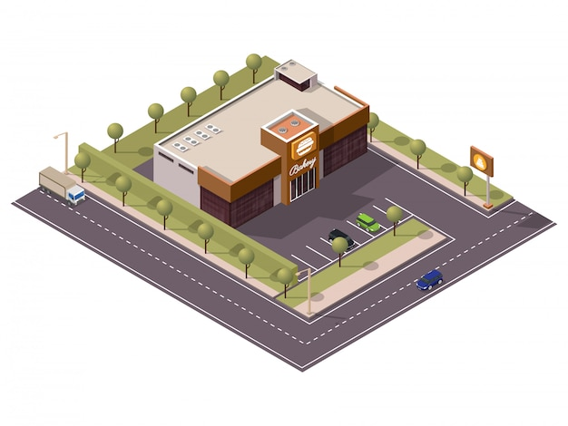 Isometric bakery burger shop with cake signboard and car parking along transport street