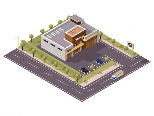 Isometric bakery shop with car parking along transport street