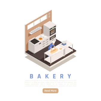 Isometric baking banner template