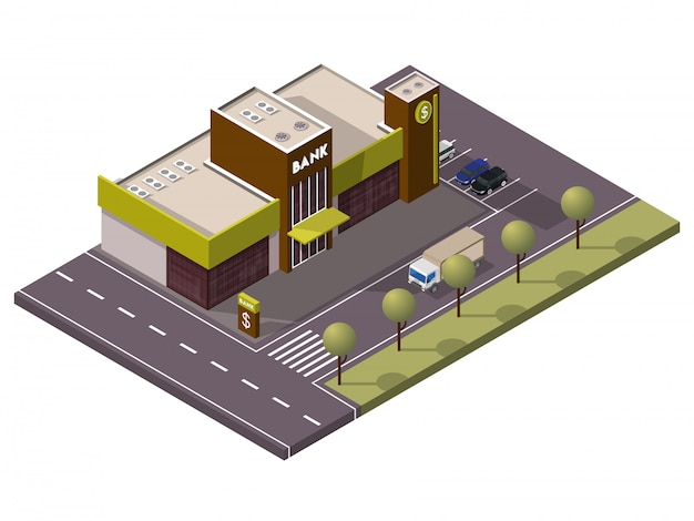 Isometric bank building with car parking in front of street yard view