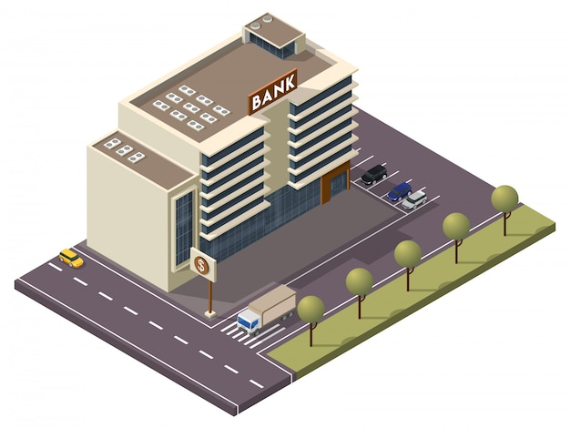Isometric bank building with signboard and car parking along transport street