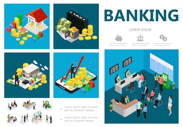 Isometric bank composition with building coins money case safe online banking investments clients receptionist cashiers managers consultants
