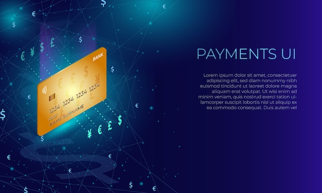 Isometric bank credit or debit card. paying or currency exchange concept