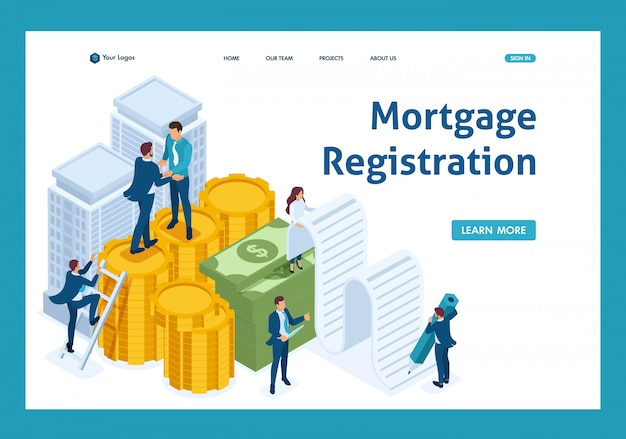 Isometric bank employees draw up a mortgage loan, businessmen landing page