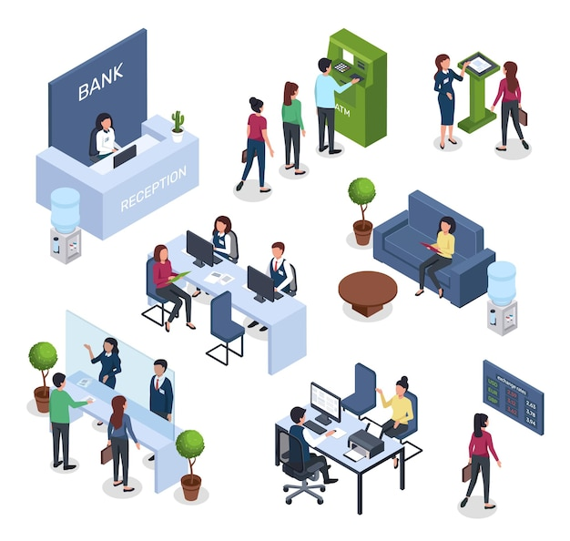 Isometric bank financial consultation atm queue reception desk currency exchange office interior