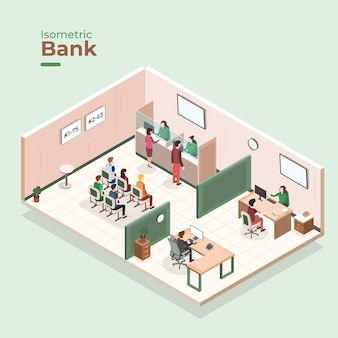 Isometric bank interior concept