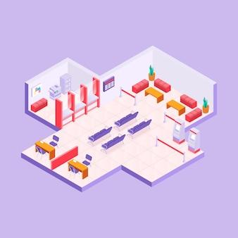 Isometric bank interior concept