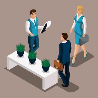Менеджеры изометрического банка встречают клиента, предприниматель пришел за ссудой в банк. кредит в банке для открытия бизнеса