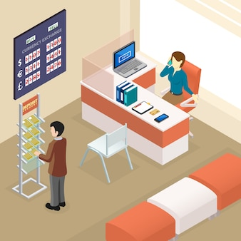 Isometric bank office