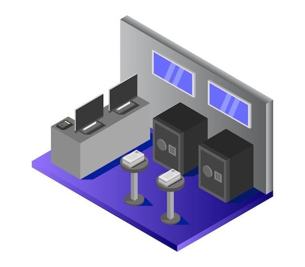 Isometric bank room