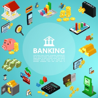 Isometric banking elements composition with building mobile payment gold bars coins money safe deposit atm machine credit cards calculator piggy bank