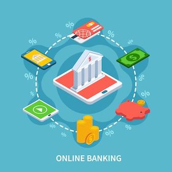 Изометрические банковские раунд композиции
