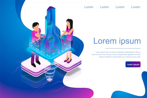 Isometric banner augmented reality for architects