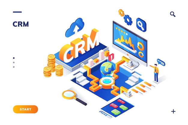 Isometric banner for crm or erp