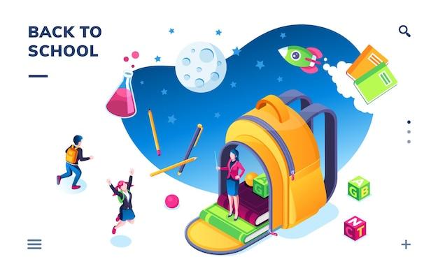 Изометрический баннер для школьного приложения для смартфона, дети возвращаются к учителю и сумке или детям