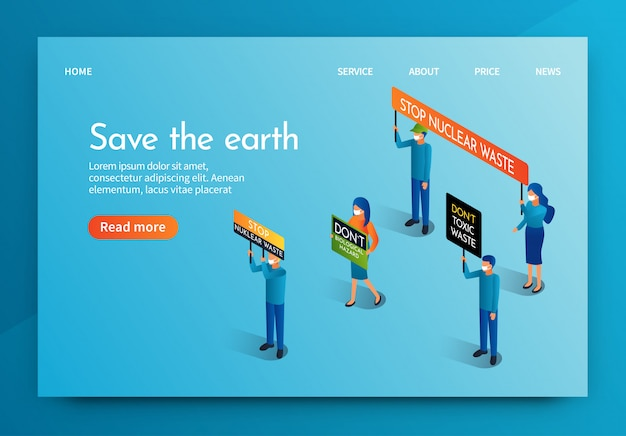 Isometric banner people meeting for save the earth