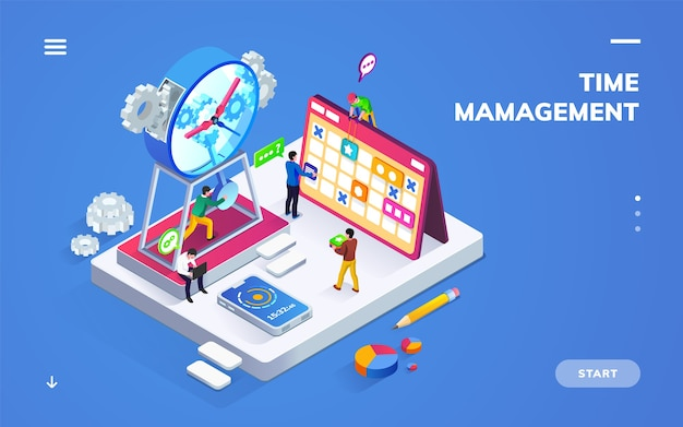 Isometric banner for time management or schedule with people near clock and calendar