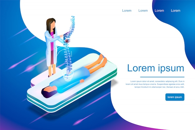 Isometric banner virtual reality in medicine 3d