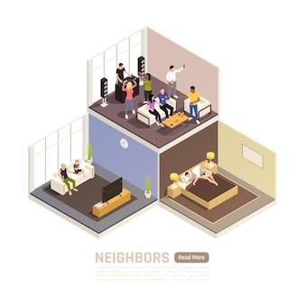 近所の人やパーティーと一緒に建物と等尺性のバナー