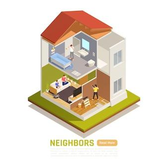 隣人との建物と等尺性バナー